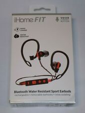 iHome FIT IB79BR Water Resistant Bluetooth Sport Earbuds Black/Red Rapid Charge