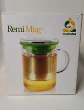 Teavana Remi Mug Glass Stainless Tea Infuser 14 OZ. Green Lid- New in Box