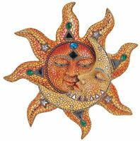 George S. Chen Imports Polyresin Orange Mosaic Face Sun with Yellow Mosaic Moon,