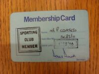 1985/1986 Leeds United: Official Sporting Club Membership Card [Used]. Footy Pro