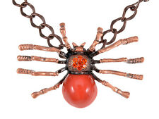 Large Orange Spider Queen Rusty Brass Tone Chain Crystal Rhinestone Necklace Ali