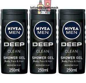 Nivea Men DEEP CLEAN Shower Gel 250ML - 3 Pack