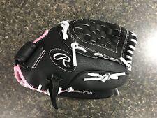 "New Rawlings Wfp115 Girls Fast Pitch Softball Glove 11.5"" Black w/ Pink Trim Rht"