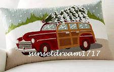 Pottery Barn Holidays Woody Car Crewel Embroidered Lumbar Pillow Cover 16 x 26""