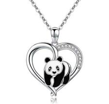 """925 Sterling Silver Lovely Cute Panda Heart Pendant Necklace With 18"""" Box Chain"""