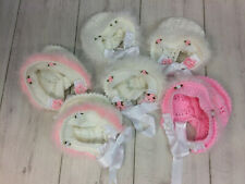 Crochet Baby Bonnet with Marabou Fur Trim and Flower Details, 0-6 Months