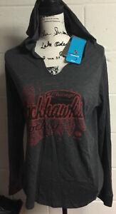 Chicago Blackhawks Womens Reebok Heather Gray Long Sleeve Hooded T-Shrt Sz XL