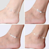 Silver Beach Bracelet Chain Women 925 Jewelry Anklet Foot Fashion Ankle Plated
