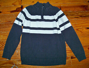 Boys THE CHILDREN'S PLACE Gray White Cotton Stripe PullOver Sweater Medium 7 / 8