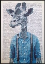 Giraffe Print Vintage Dictionary Page Wall Art Picture Hipster Animal Braces