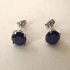 MEN'S WOMEN'S STUD EARRINGS SILVER 925 BLACK ROUND CZ 0.236 in. - 6 MM - 1207