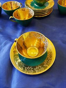 Seltmann Weiden grün 24K Gold Vergoldet Teegeschirr Teetasse Tasse Kaffeetasse