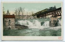 Railroad Train Center Rutland Falls Rail Bridge Vermont 1907c postcard