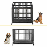 """37""""/42"""" Heavy Duty Pet Large Dog Cage Crate Kennel Metal Playpen w/ Tray Wheels"""