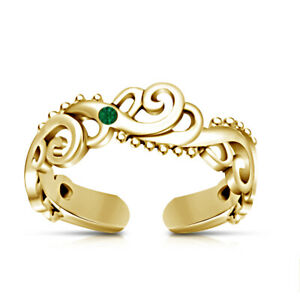 Ladies Round Cut Green Sapphire 14K Yellow Gold Fn Wave Adjustable Size Toe Ring
