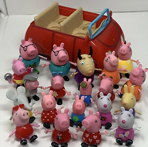 Peppa Pig's Red Car 2003 Jazwares Talking Sounds With Figures Lot Teacher George