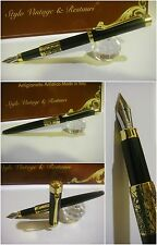 stilografica Regal British Black Lacquer Gold. Fountain Pen Nib Rhodium Siz M/f