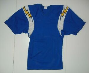 Vtg 80s Rawlings SAN DIEGO CHARGERS Blue/Yellow NFL FOOTBALL JERSEY Shirt Men S