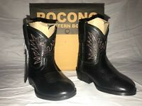 POCONO Children's Kids Leather Black Round Toe Western Roper Boots T-3510 NIB
