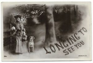 Longing to See You - Woman with Dog - 1906 Postcard 124E