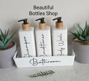 Mrs Hinch Bathroom Caddy & 3 Bottles Bamboo Lids Shampoo Conditioner Body Wash