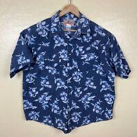 Wrangler Western Pearl Snap Shirt Mens XL Floral Blue Short Sleeve Collared