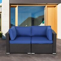 2PCS Patio Sectional Corner Sofa Set Cushioned Couch Outside Furniture Dark Blue