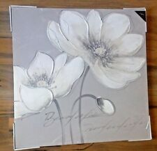GREY CREAM WHITE SILVER GLITTER FLOWER FLORAL CANVAS WALL PICTURE HAND PAINTED