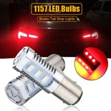 2x 1157 LED Flashing Universal Strobe Blinking Tail Stop Brake Lights Bulbs Red
