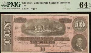 UNC 1864 $10 DOLLAR CONFEDERATE STATES CURRENCY CIVIL WAR NOTE MONEY PMG 64 EPQ