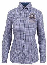 L' ARGENTINA Damen Bluse Shirt Langarm Größe 38 M 100% Baumwolle Blau Kariert