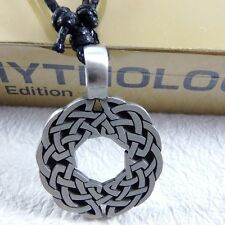 Viking Norse Circle Wheel Celtic SILVER PEWTER PENDANT and Cotton Necklace #189