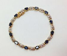 3ct Oval Cut Blue Sapphire Tennis Bracelet 7 1/4 In Yellow Gold over Sterling...