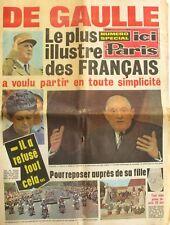 Ici Paris n°1323 - 1970 - Spécial Mort du Général De Gaulle -