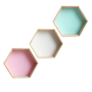 Wooden Hexagonal Shelf Wall Mount Decorative Floating Shelf for Collectibles NEW