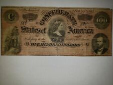 1864 $100 CONFEDERATE STATES CURRENCY CIVIL WAR NOTE PAPER MONEY - NICE NOTE
