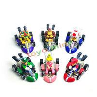 6 PC Super Mario Bros Mini Mini Kart Pullback Figura de Colección de juguetes