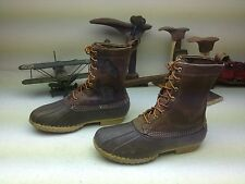 DISTRESSED L.L. BEAN BROWN LEATHER LACE UP WORK CHORE DUCK HUNT BOOTS SIZE 12 W