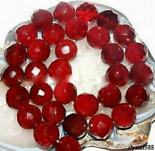 AAA+++10mm Faceted Natural Red Ruby Gemstone Round Loose Beads 15''