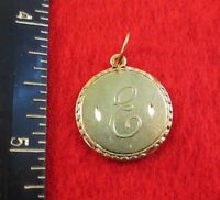 14KT GOLD EP LETTER E ROUND INITIAL DISC CHARM  WAS $8.95
