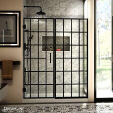 DREAMLINE UNIDOOR TOULON 58-58 1/2 x 72 PIVOT SHOWER DOOR 3/8 GLASS/SATIN BLACK