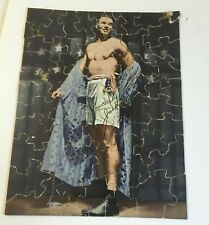 "JACK DEMPSEY JIGSAW PUZZLE CARDBOARD 7 ¼ x 9 ¼"" ROBE FLAG VTG BOXING CHAMPION"