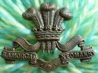 WW1 Glamorgan Yeomanry Cap Badge BRONZE 2 Lugs ANTIQUE Original