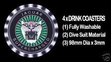 4  x  JAGUAR SUPERCHARGED MOTOR CAR BONNET BADGE EMBLEM,  DRINK COASTERS - GREEN
