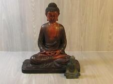 """Vintage Lot Of 2 Meditating Buddha Statues Red Wooden 12"""" & Black 3.5"""""""