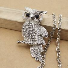 New Silver Plated Crystal Rhinestone Owl Necklace