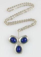 Vintage 1960s Jorgen Jensen Modernist Pewter Necklace with Blue Art Glass Stones