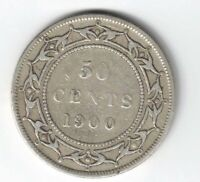 NEWFOUNDLAND 1900 50 CENTS HALF DOLLAR VICTORIA STERLING SILVER CANADIAN COIN