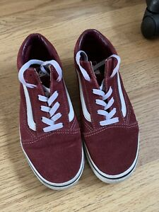 Vans Old Skool All Suede Burgundy Red Trainers - UK size 5 Good Condition
