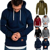Men Winter Casual Hoodie Warm Pullover Fleece Sweatshirt Hooded Coat Plain Tops
